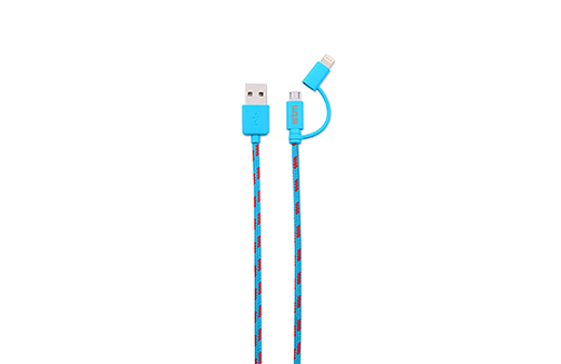 Roll over image to zoom in STM Elite Cable, Braided 2-in-1 Lightning & Micro USB Cable (1m) - Blue (stm-931-096Z-20)